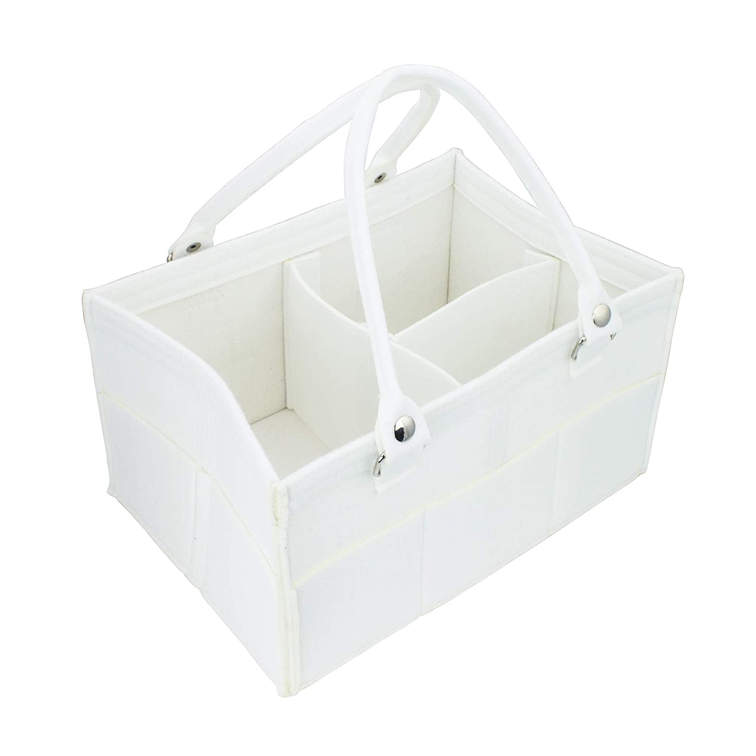 Baby Shower Gift Basket for Girl Boy Diaper Caddy Organizer Nursery Storage White