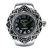 Fashion Lovely Creative Tibet Silver Petal Flower Quartz Finger Ring Watch with Gift Box