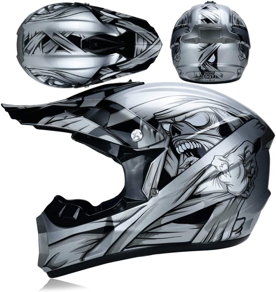 Moto Cross Enduro Quad Sport Full Face Casque Compris Lunettes S, M, L, XL TKGH Casque Motocross Adulte Gants Masques Hommes et Femmes Cross-Country D.O.T Certifi/é HE-018