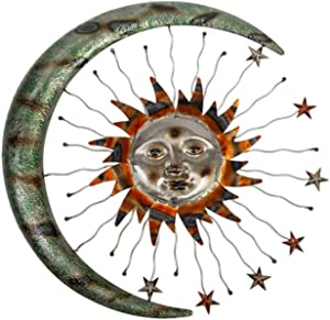 Metal Wall Art Celestial Moon Sun and Stars Indoor Outdoor Garden Wall Decor - 24 inch Metal Sun Moon Stars Wall Hanging