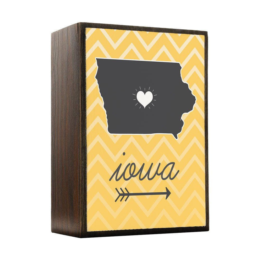 Inspired Home - Iowa State Chevron Pattern Wood Box Sign - Modern Home Decor - Contemporary Wall Decor - UV Print Wooden Desk Decor