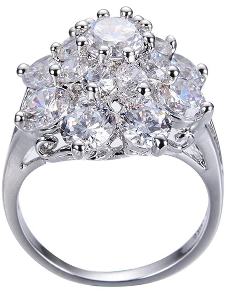 AmaranTeen White Gold Filled Elegant Anniversary Gift Wedding /& Engagement Ring