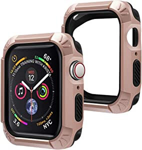 top4cus Anti-Scratches 44mm Bumper Compatible with Apple Watch Soft Flexible PC + TPU 2 in 1 Lightweight Strong Protective iWatch Case Protector for Series 6/SE Series 5/4 (44mm, Champagne Gold)