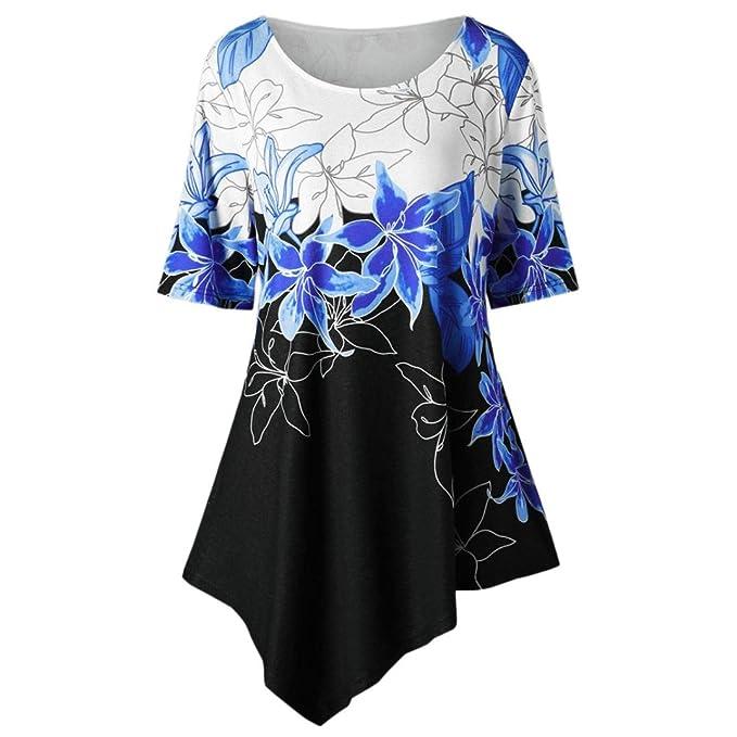 ee87a28f645a VENMO Große Größe Frauen Schmetterlings-Druck T-Shirt Tops Bluse Freizeit  Sommer Kurzarmshirt Crop