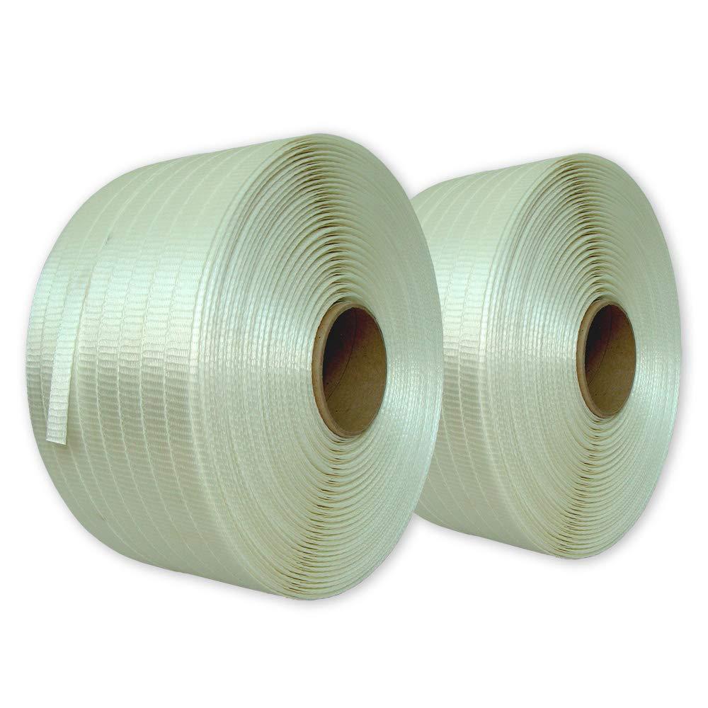 2 Rollen gewebtes HD Polyester-Umreifungsband Textil 25 mm 400 lfm