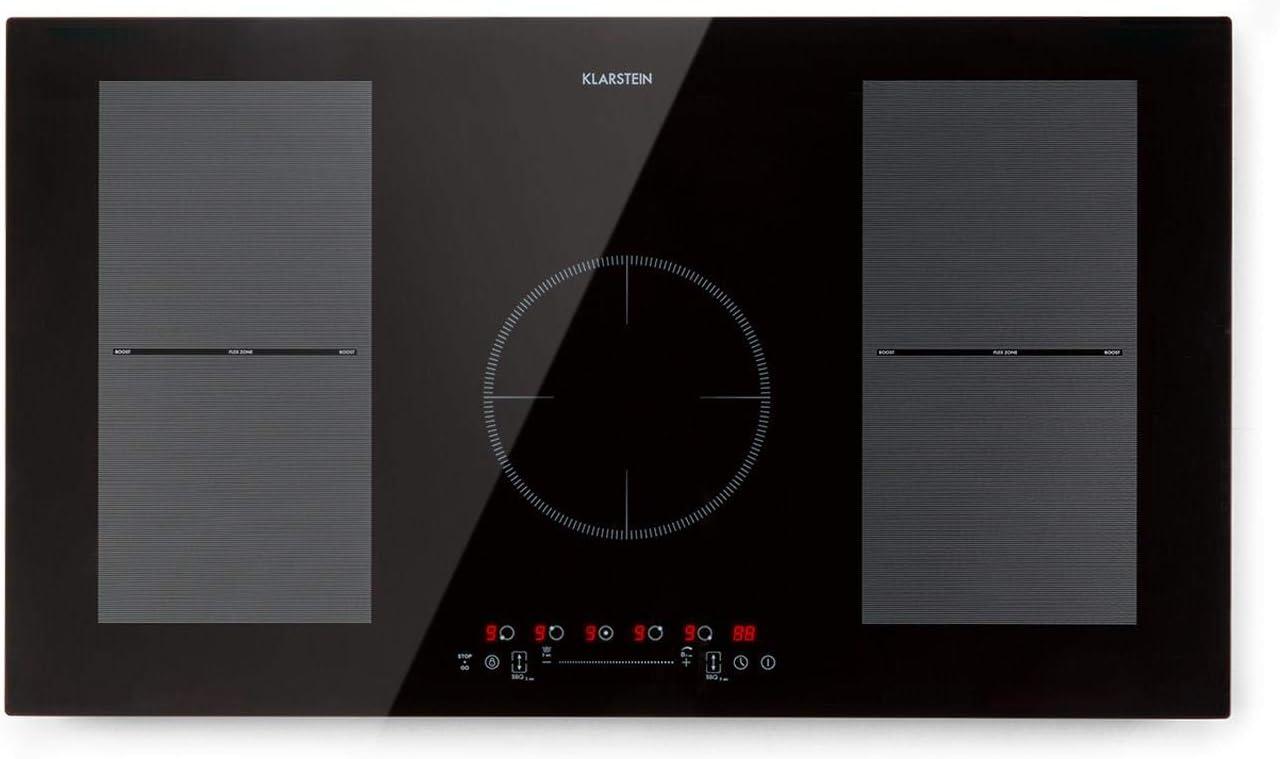 Klarstein Delicatessa 90 Flex - Placa de inducción, Encastrable, Superficie de vitrocerámica, 5 superficies de cocinado, Potencia máx. 7000 W, 9 niveles de potencia, Control EcoThermal, Negro