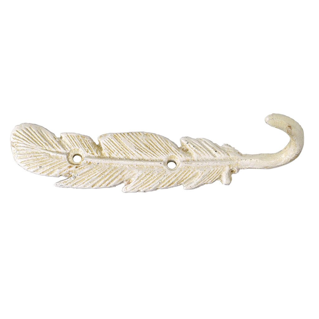 Time Concept Founder Iron Feather Wall Hook C - White - Attachment Screw Included, Home Decor