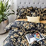 Eastern Floral Chinoiserie Blossom Print Duvet Quilt Cover Navy Blue Tan White Asian Style Botanical Tree Branches Ornamental Drawing 400TC Egyptian Cotton 3pc Bedding Set (Queen, Black)
