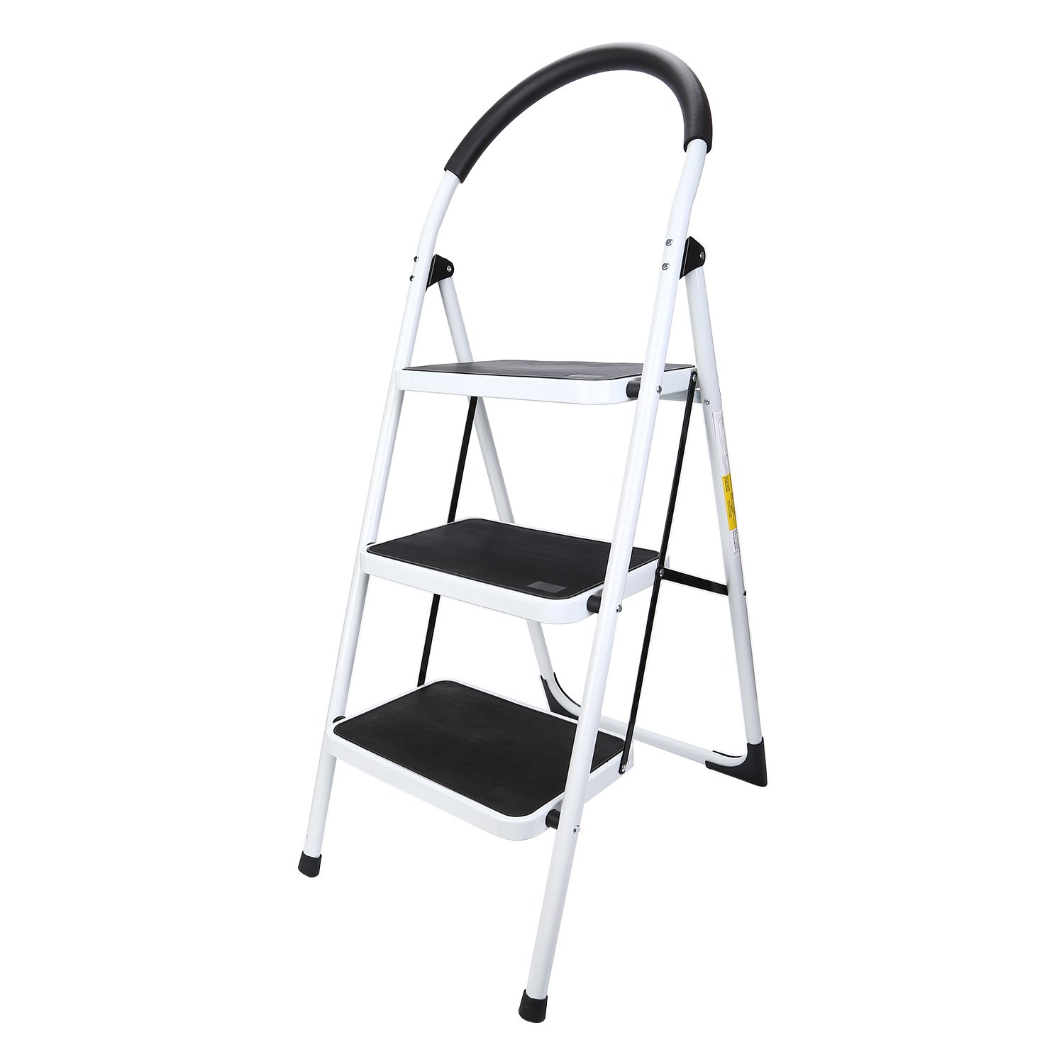Maddott Folding 3 Step Ladder Step Stool Stepladders with Handgrip Anti-slip and Wide Pedal Sturdy Steel Ladder 330lbs White and Black (3.8 feet)