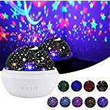 Star Night Light, Cre-Heaven Baby Night Light Star Moon Rotating Projector Bedside Lamp Color Changing Timer Setting for Baby Children's Bedroom (White)