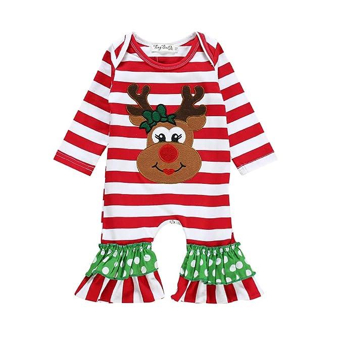 Bebé Niña Disfraz De Navidad Mono De Rayas Mameluco Reno ...