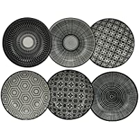 Ard'Time - Komaé Lot de 6 Assiettes Céramique Noir/Blanc
