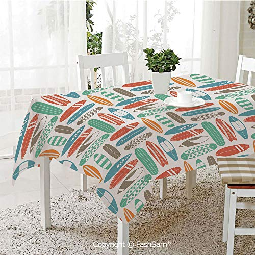 AmaUncle 3D Print Table Cloths Cover Colorful Surfing Sea Pattern with Summer Travel Illustration in Retro Colors Decorative Kitchen Rectangular Table Cover (W60 xL104)]()
