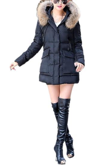 d7b36ef497 Eozy Doudoune Femme Hiver avec Fourrure Manteau Chaud Manteau à Capuche  Épais Mi-Longue (