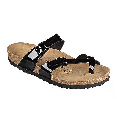 JOE N JOYCE Damen Rio Synsoft Soft Fußbett Zehentrenner Black Patent Größe 42 EU Normal Es4l0MW