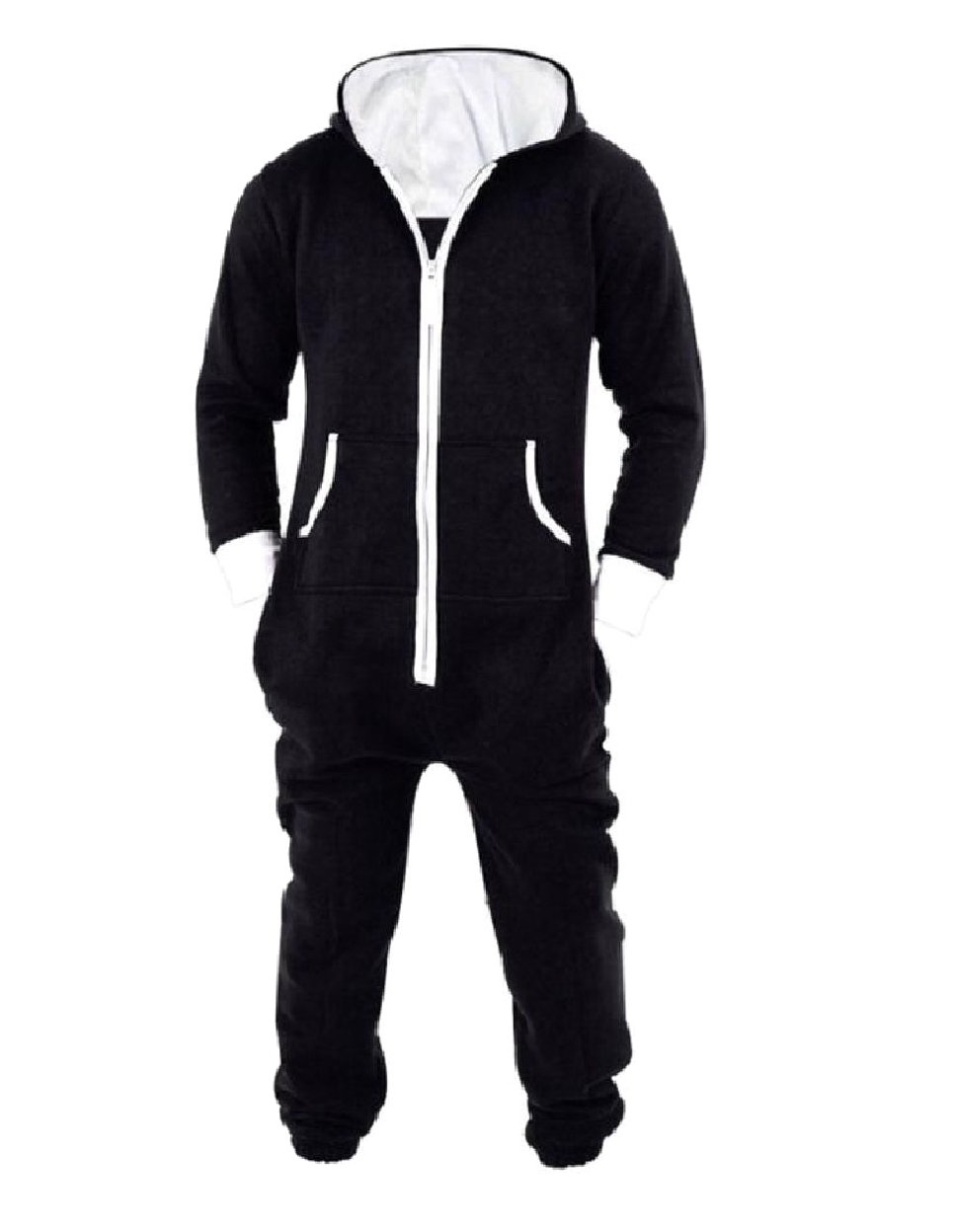 Tootless-Men Cosplay Hoode Fine Cotton Lounger Pocket Jumpsuit Pajamas Black S