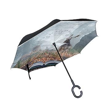 TIZORAX Paraguas Reversible de Doble Capa invertido con asa en Forma de C para Lluvia y