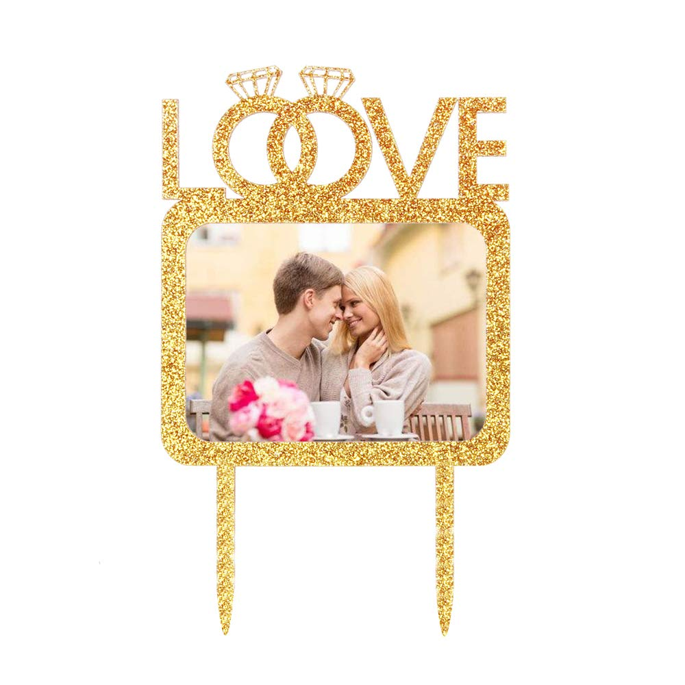 Wedding Anniversary Engagement Photo Picture Cake Toppers Love Double Diamond Rings Cake Topper with Photo Frame Party Cake Decoration