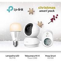 TP-Link Telecamere Wi-Fi Tapo C200 + Lampadina Wi-Fi E27 KL110 + Presa Wi-Fi HS100, Pacchetto smart home di TP-Link
