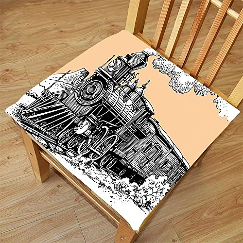 Nalahome Set of 2 Waterproof Cozy Seat Protector Cushion Steam Engine Vintage Wooden Train on Rails Wild West Wagon in Countryside Drawing Effect Artsy Peach White Printing Size - Sunglasses Drawing By Step Step