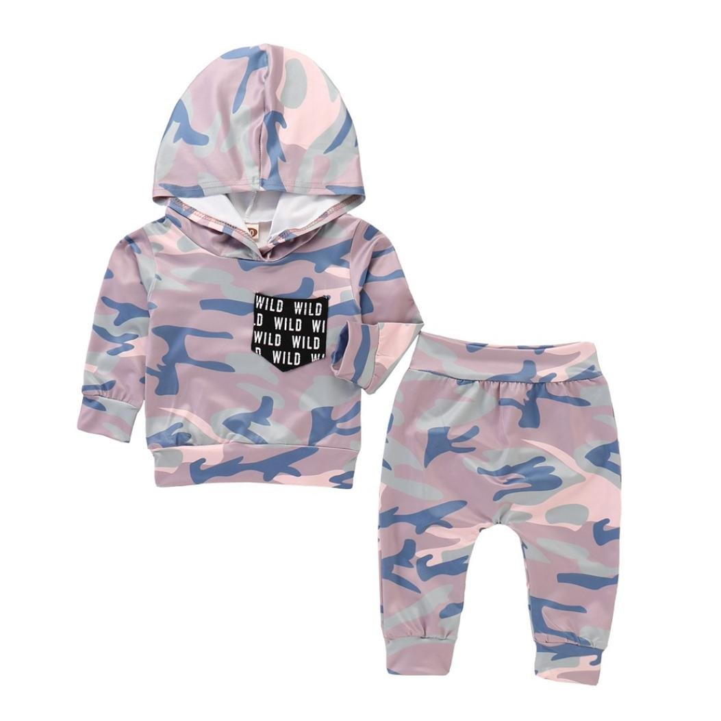 WYXlink Clearance Toddler Baby Clothes 6M-24M,Gray Infant Baby Boys/&Girls 2Pcs Camo Hoodie Tops+Pants For Autumn Winter Outfits Set 70