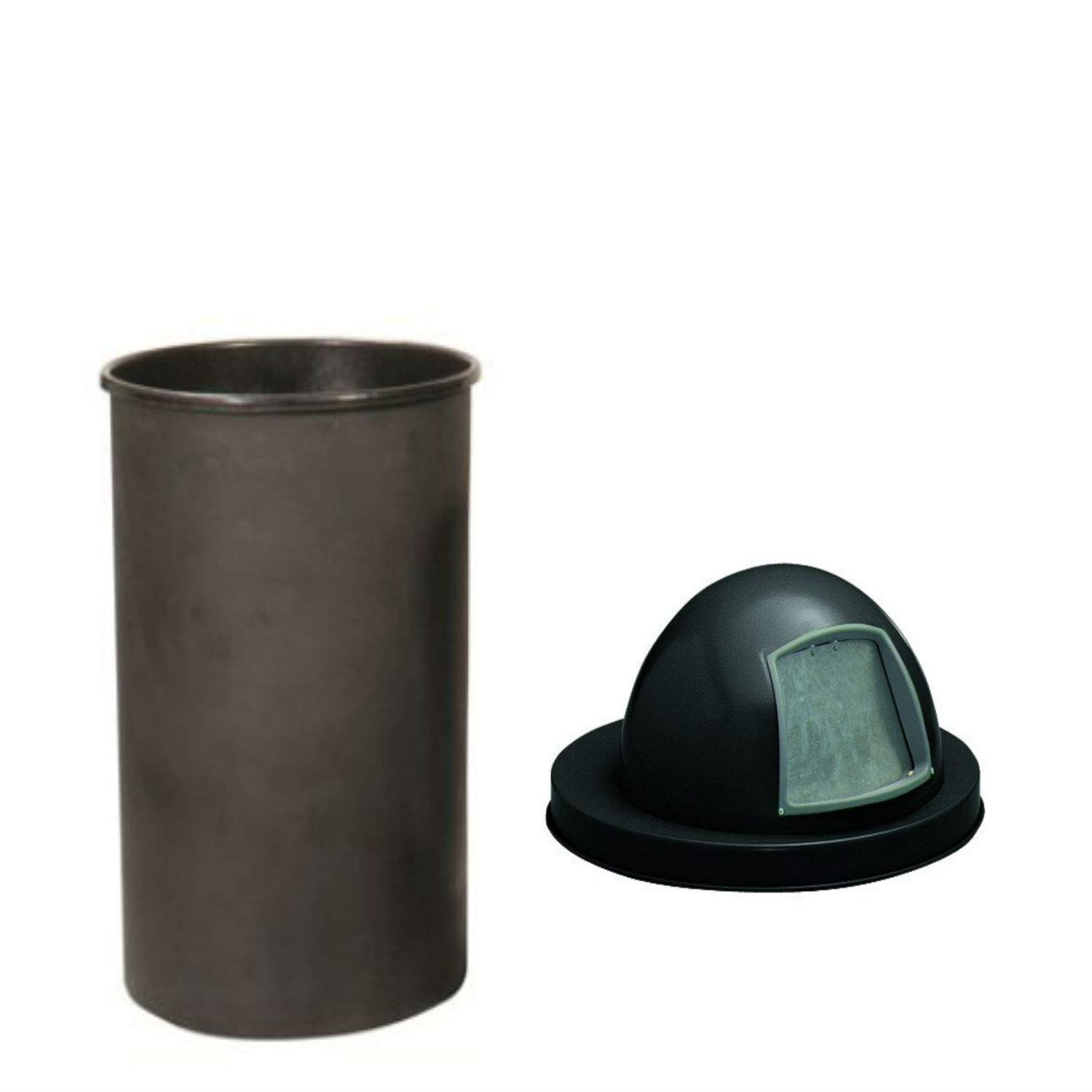 Witt Industries 55'' Gallon Liner with Expanded Metal Series Heavy Duty Dome Top Cover Finish: Powder Coat Black