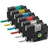 Compatible TZe TZ Label Tape 12mm TZe-131 TZe-231 TZe-431 TZe-531 TZe-631 TZe-731 Cassette Compatible with Brother P-Touch PT-1000 PT-1010 PT-H101C GL-H105 PT-2030VP, 12mm x 8m, 6-Pack
