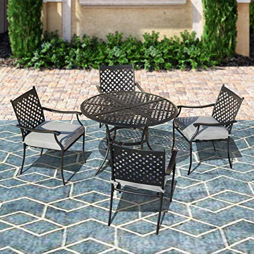 Top Space Patio Furniture,5 PCS All Weather Resistant Heavy Duty Dining Set with Chairs,for Balcony Patio Garden Poolside,Lattice-Weave Design Table with Umbrella Hole and Cushioned Chairs Set