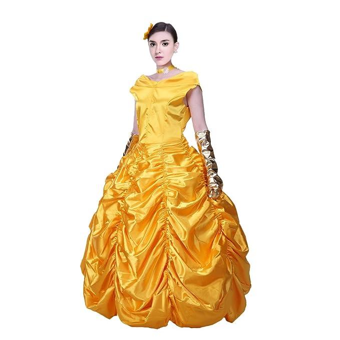 Pettigirl Mujer Disfraz Amarillo Vestidos Hermosos Halloween Cosplay Party 2XS