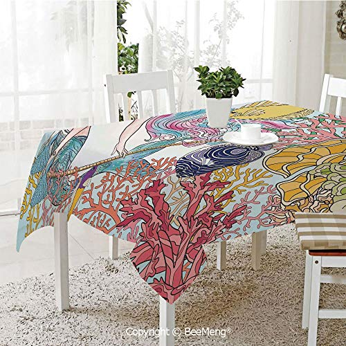 - Large dustproof Waterproof Tablecloth,Family Table Decoration,Mermaid,Hand Drawn Mermaid Creature Swinging on Rope on Coral Reefs in Underwater World Artwork,Multi,70 x 104 inches
