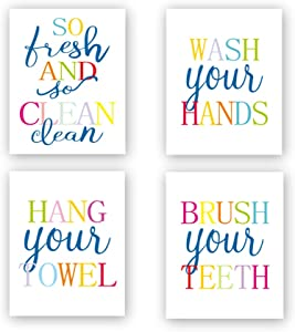 Funny Bathroom Quote&Saying Art Print Watercolor Lettering Sign Wall Art Painting Poster,Colorful Bathroom Rules Typography Cardstock Poster for Kids Washroom Decor (Set of 4, 8'' x 10'',Unframed)