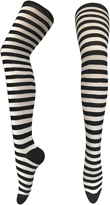 Black /& White Ladies Opaque Striped Over Knee Socks Thigh High Sock Stocking