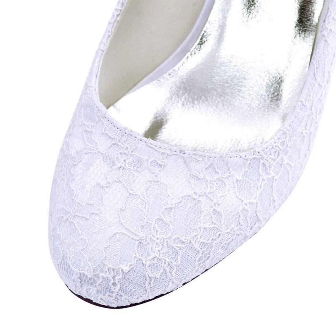 ZHRUI Damen-Doppeltes Bügel-Med-Ferse-weiße Spitze-Hochzeits-Formale Spitze-Hochzeits-Formale Spitze-Hochzeits-Formale Schuhe Großbritannien 5 (Farbe   -, Größe   -) 6be14a