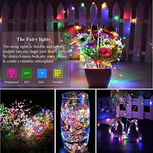 ZMIN 2 Pack Fuegos Artificiales Luces Cadena Luces Cadena de Luces de Alambre de Cobre Impermeables 200LED con Control Remoto para Jardín Fiestas Boda Casas y Fiesta