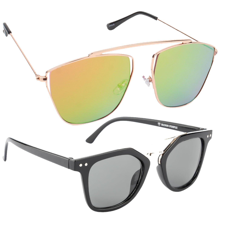 18cba5eee9 HOB EPICINK WITH DEVICE Stylish Flat Cat Eye Yellow Mirror Metal Frame With  Black Classy Wayfarer Unisex Sunglasses Combo (Set Of 2)  Amazon.in   Clothing   ...