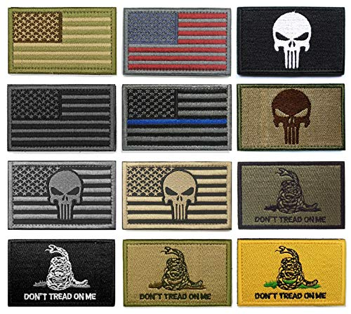 WZT Bundle 12 Pieces American Flag Tactical Military Morale Patch Set