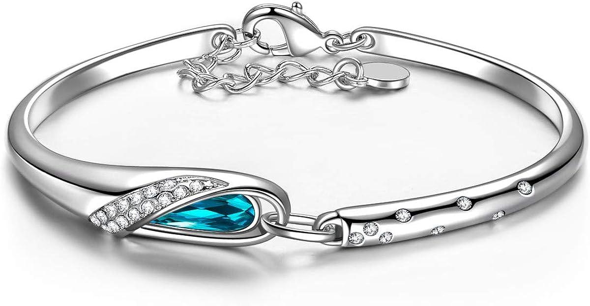 Kami Idea Brazalete, Zapatilla de Cristal, Chapada en Platino, Cristal Azul de Swarovski, Embalaje de Regalo, Regalos para Mamá