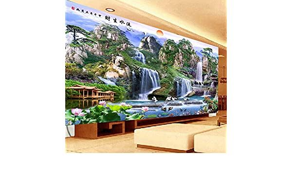 AIGUFENG Hecho a mano en punto de cruz acabado paisaje pintura agua riqueza Rising Sun Dongsheng salón hecho en bordado bueno bordado,195 * 125cm: ...