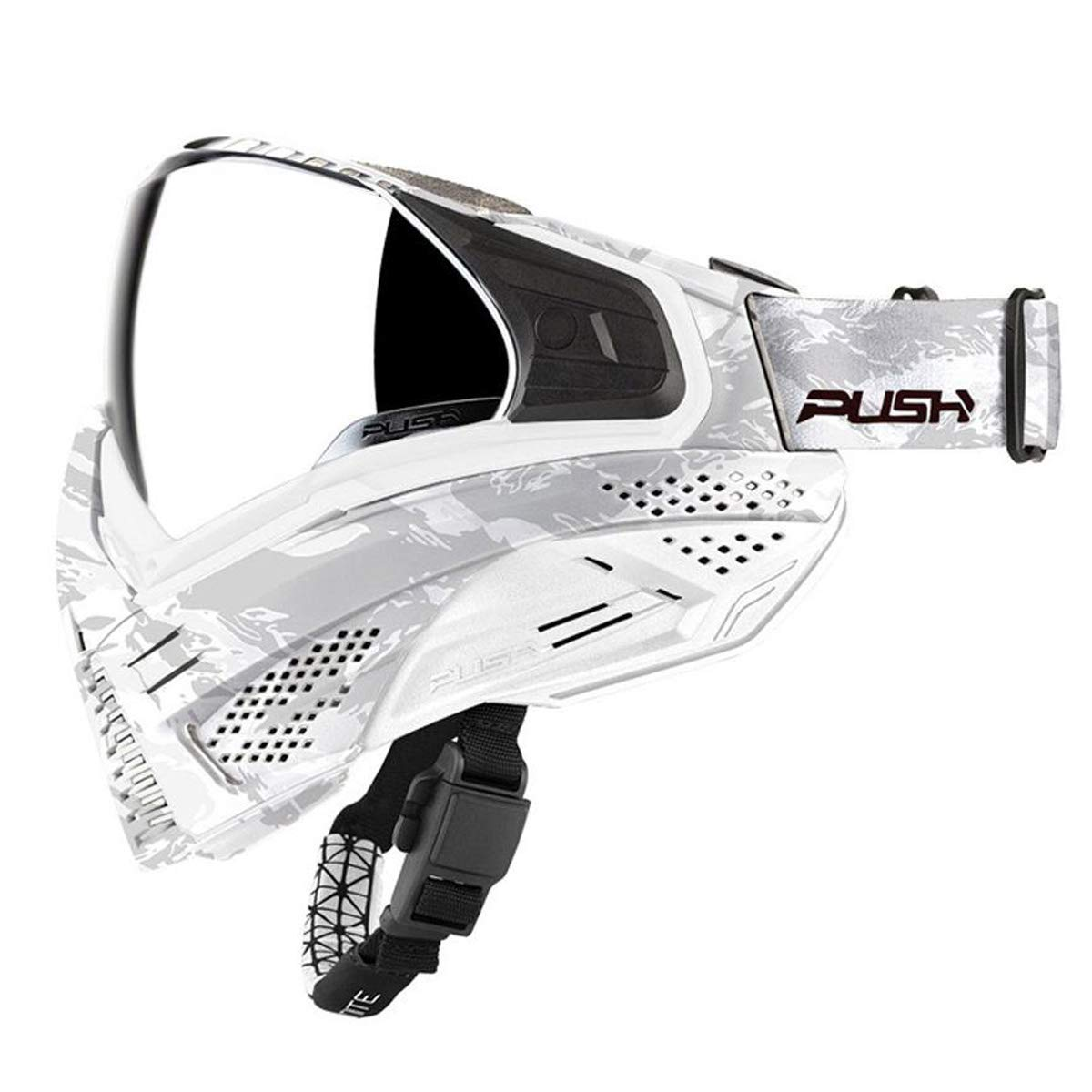 Push Unite Paintball Goggles MASK with Quad PANE Lens and CASE (White Camo Silver Lens) by Push Paintball