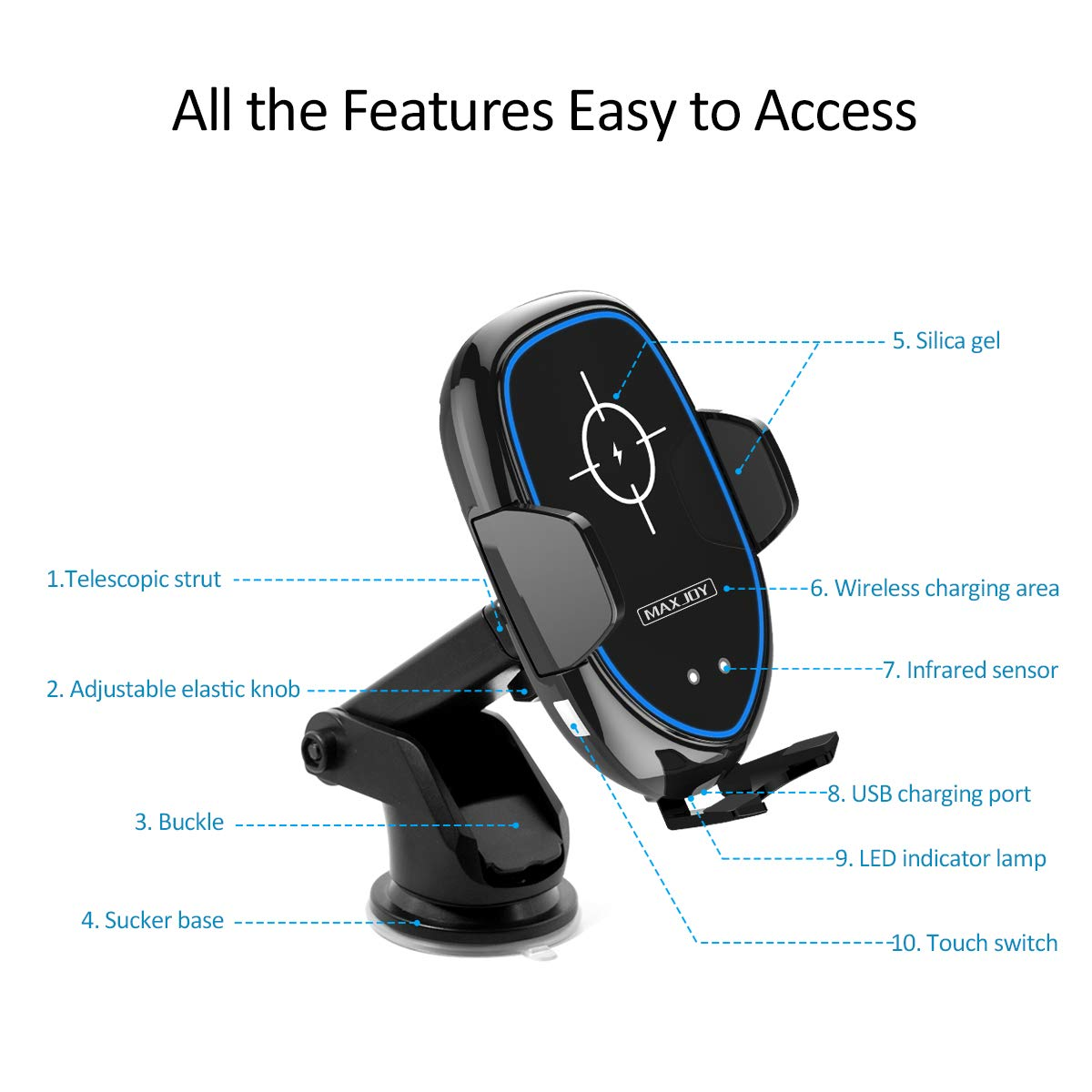 Wireless Car Charger, Maxjoy Qi Fast Charger Car Mount, 10W Wireless Car Charger Infrared Sensor Phone Holder Compatible for iPhone Xs Max XR X 8 8 Plus Samsung Galaxy S9 S9 Plus S8 Plus Note 8 5