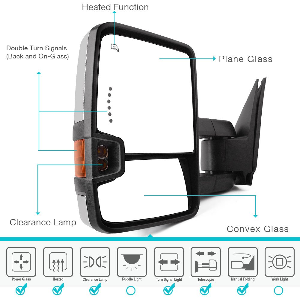 Yitamotor Towing Mirrors For 99 02 Chevy Silverado 2002 Suburban Mirror Control Switch Wiring Diagram Avalanche Gmc Sierra Pair Tow Power Heated Led Signal Clearance Light Side