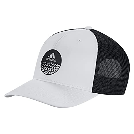 530ff38567d05 adidas Golf 2019 Mens Globe Mesh Side Pre Curved Trucker Adjustable  Snapback Cap Black White