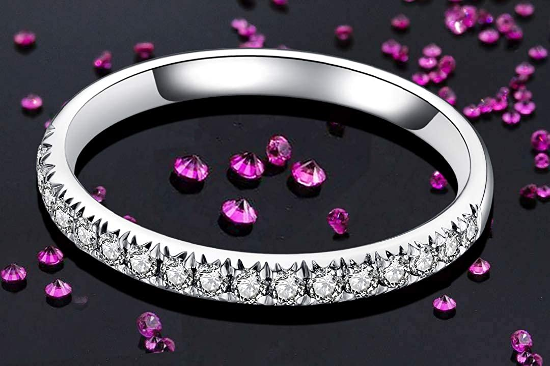 GEM DE LUXE Eternity Wedding Band Platinum Plated Silver 0.4ct 2mm Stackable Moissanite Engagement Ring F-G Color Half Eternity Band for Women Anniversary Jewelry Size 4 to 8.5