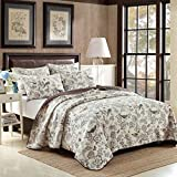 mixinni Home Antique Chic Reversible 100% Cotton 3-Pieces Quilt Set With Shams Country Style Birds Floral Bedspread Coverlet Set-Queen Size