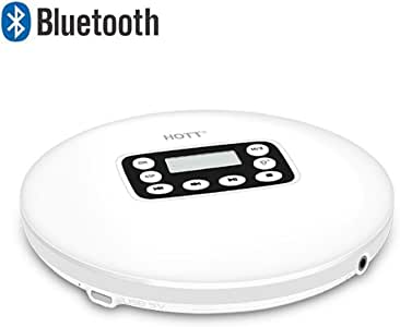 HOTT Bluetooth 5.0 Portable CD Player Built-in 1000mah Rechargeable Battery, with LED Display, Headphone Jack, Anti-Skip Protection, Anti-Shock Personal CD Music Disc Player for Kids Adults Students, Not Compatible with Car Bluetooth (White)