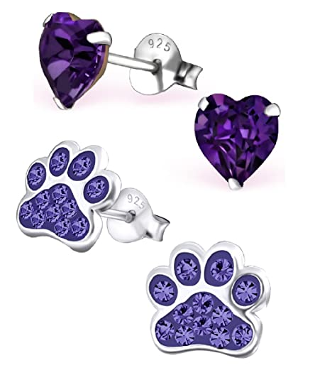 1748820eb94 Image Unavailable. Image not available for. Color  925 Sterling Silver Set  of 2 Pairs Purple ...