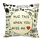 White and Black Decorative Throw Pillow Covers Hug This When You Miss Me Cute Woven Accent Cotton Square Cushion Case Casual Life Sofa Couch Toss Pillowcase Nook 18 X18 Inches