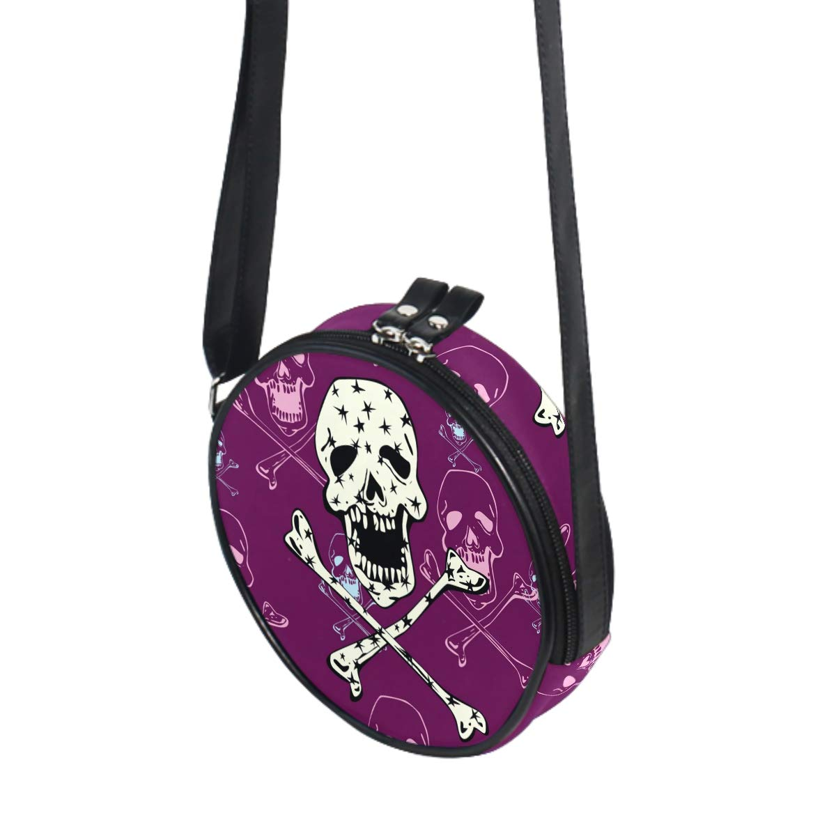 Skull With Stars Small Round Canvas Crossbody Messenger Bags for Women