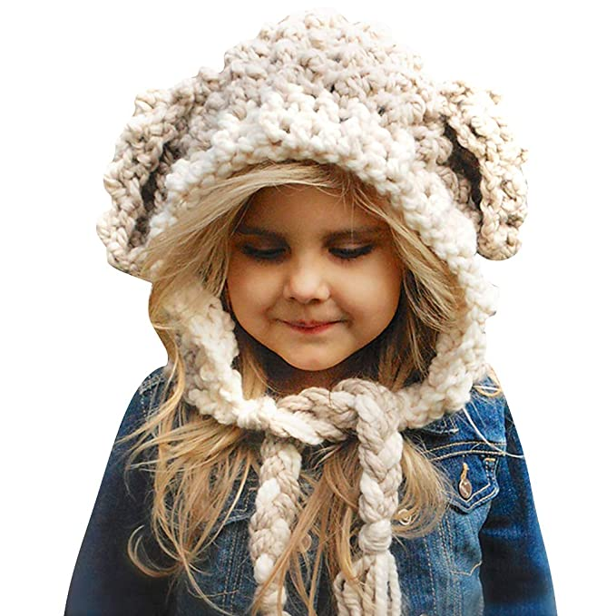 Liny Cappello a Maglia per Bambini - Ragazze Sciarpa Berretto Bambina Invernale  Cappello del Fumetto di Stile Beanie Bambino Earflap Coif Autunno Neonato  ... 9de10b84090e