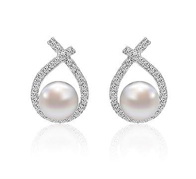 "0d4c5ea77 Pearl earrings, Love&Clover ""Only You"" Elegant 925 Sterling Silver Pearl  and Diamond Earrings"